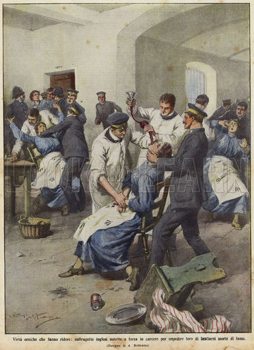 British suffragettes being force-fed in prisons